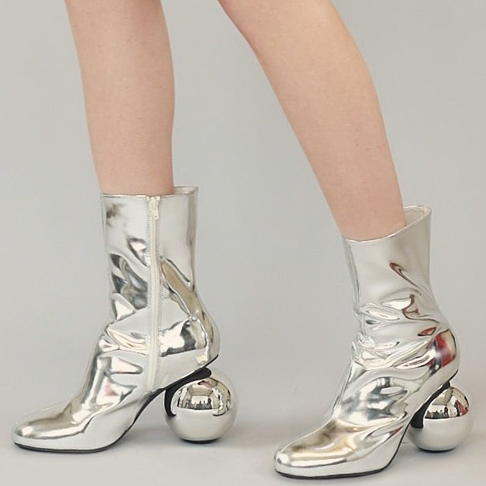 Silver Diego Metallic Patent-Leather Ankle Boots