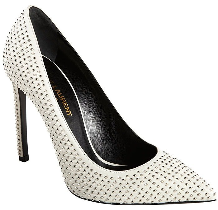 Saint Laurent 'Paris' Studded White-Leather Pumps