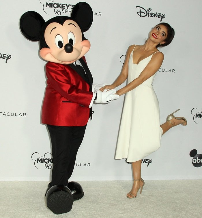 Sarah Hyland flaunts her hot legs at Mickey's 90th Spectacular celebration
