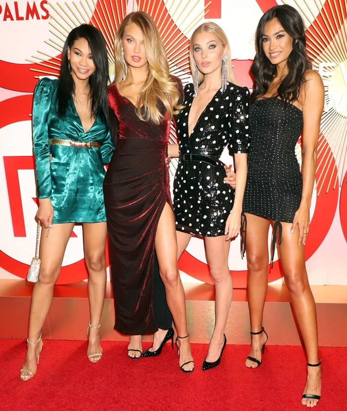 Chanel Iman, Romee Strijd, Elsa Hosk, and Kelly Gale attend REVOLVE Presents: The 2nd Annual #REVOLVEawards at Palms Casino Resort on November 9, 2018, in Las Vegas, Nevada