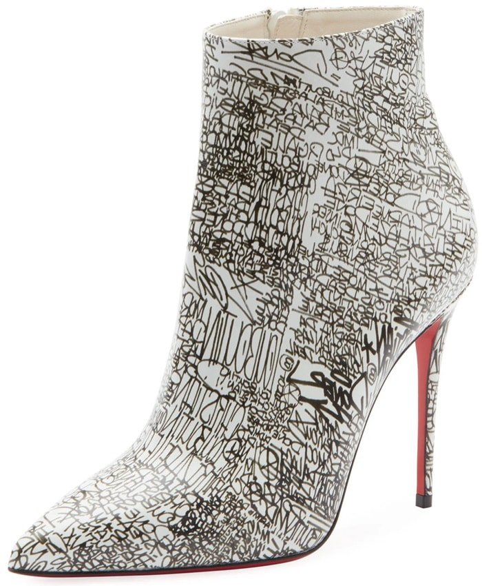 Christian Louboutin bootie in calligraphy-print calf leather