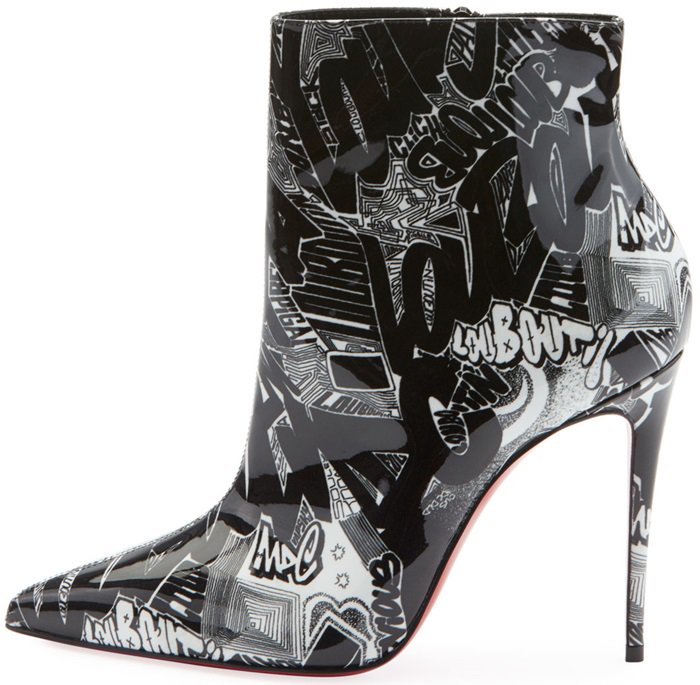 Christian Louboutin bootie in Nico graffiti-print patent leather