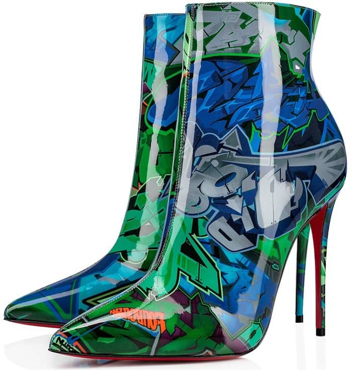 The sleek patent leather ankle boot features a slender So Kate silhouette with a pointed toe and dramatic arch leading to 100mm of a pure stiletto heel is updated in Taiga-colored Metrograf print inspired by modern-day graffiti