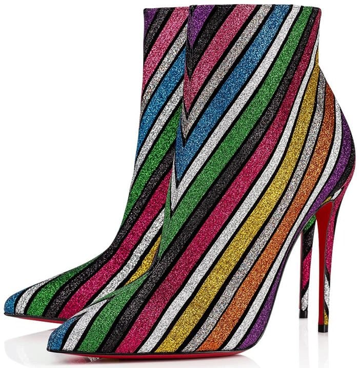 Made of suede and striped in multi-colored glitter, it cradles the foot with shine.