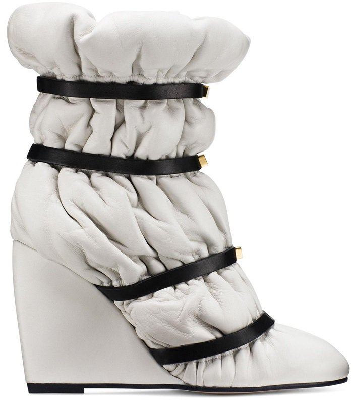 Snow White Duvet Studded Leather Wedge Boots