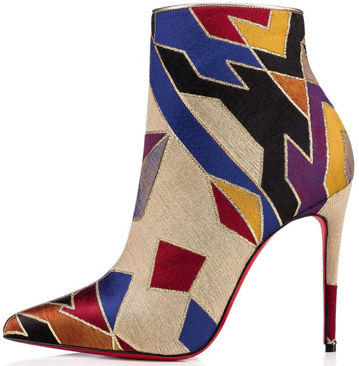 Christian Louboutin's slender So Kate silhouette sports a dramatic arch leading to a pointed toe, giving these 100mm stiletto ankle boots a sophisticated and dramatic look