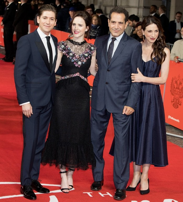 Tony Shalhoub, Rachel Brosnahan, Marin Hinkle, and Michael Zegen at the UK premiere of the Amazon Prime Video series The Romanoffs in London, England, on October 2, 2018