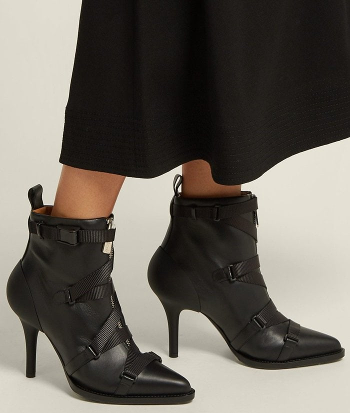 Tracy Strappy Front-Zip Ankle Boots