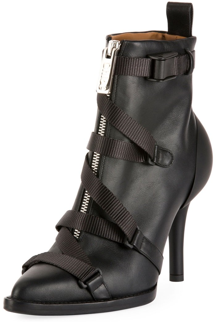 "Chloe ""Tracy"" calf leather boot with adjustable grosgrain straps"