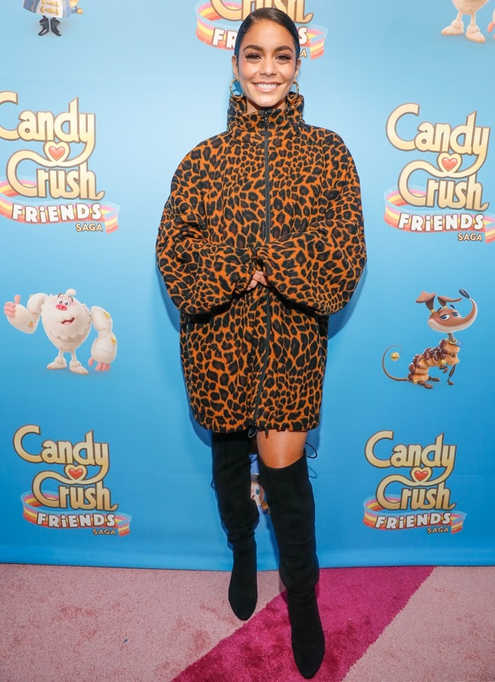 Vanessa Hudgens wearing a leopard fleece print sweatshirt to the launch of the new Candy Crush Friends Saga game in New York City on October 11, 2018