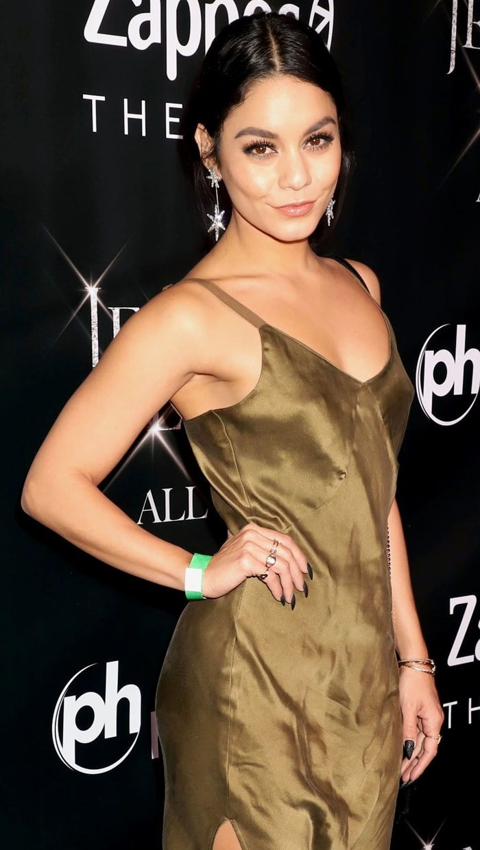 Vanessa Hudgens in a 'Cabin Love' silk slip dress fromSpell & the Gypsy Collective