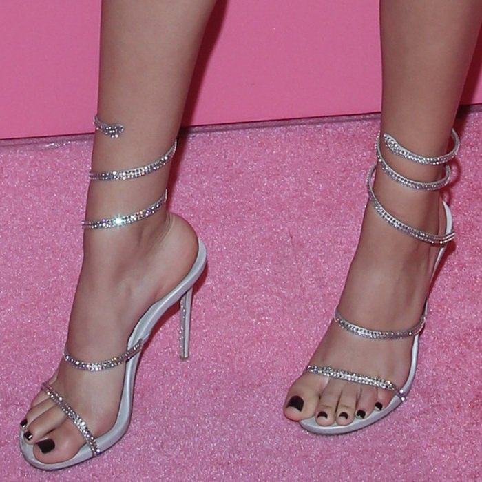 Victoria Justice shows off her feet in crystal-embellished Cleo sandals
