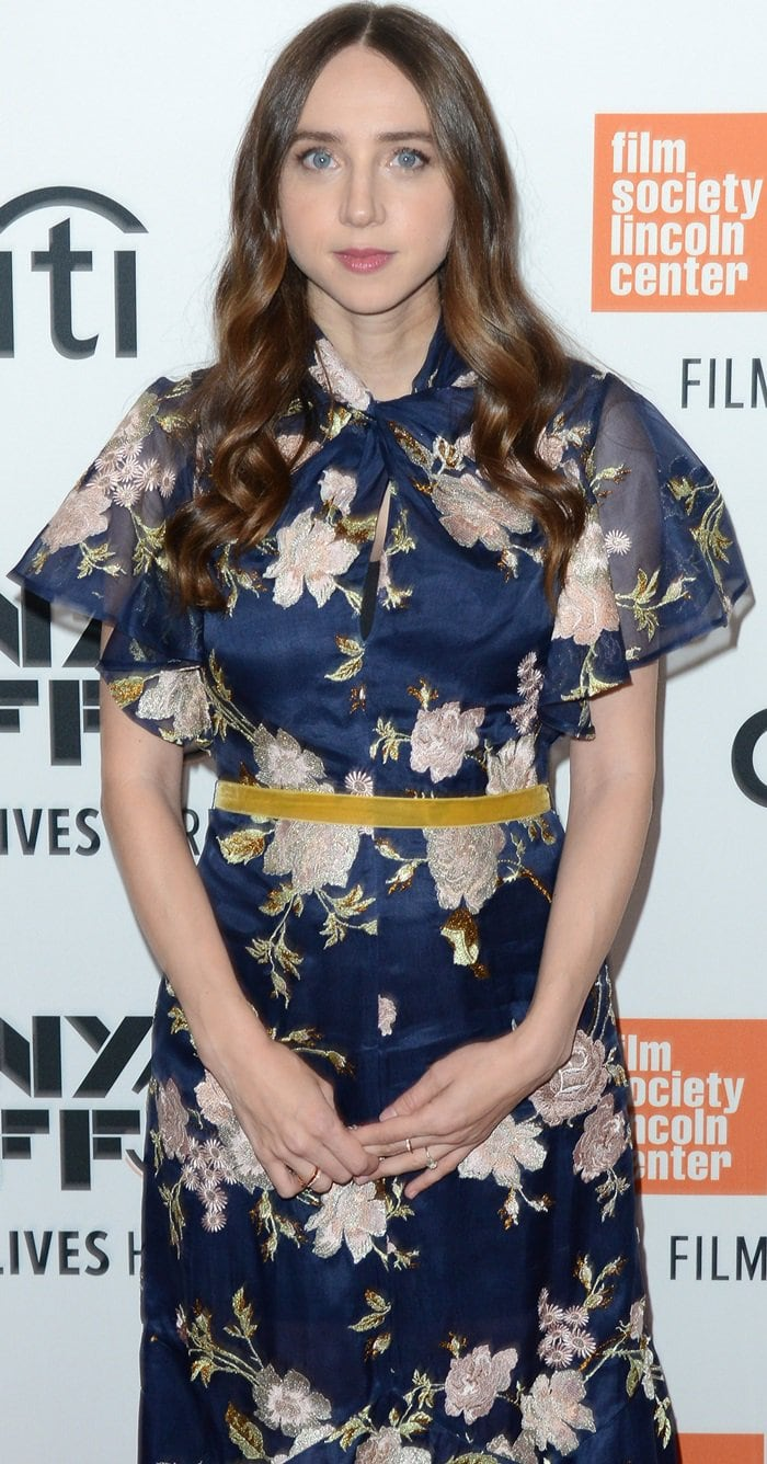 Zoe Kazan wearing a floral gown from the Erdem Resort 2019 Collection