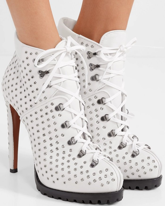 White Eyelet-Embellished Leather Ankle Boots