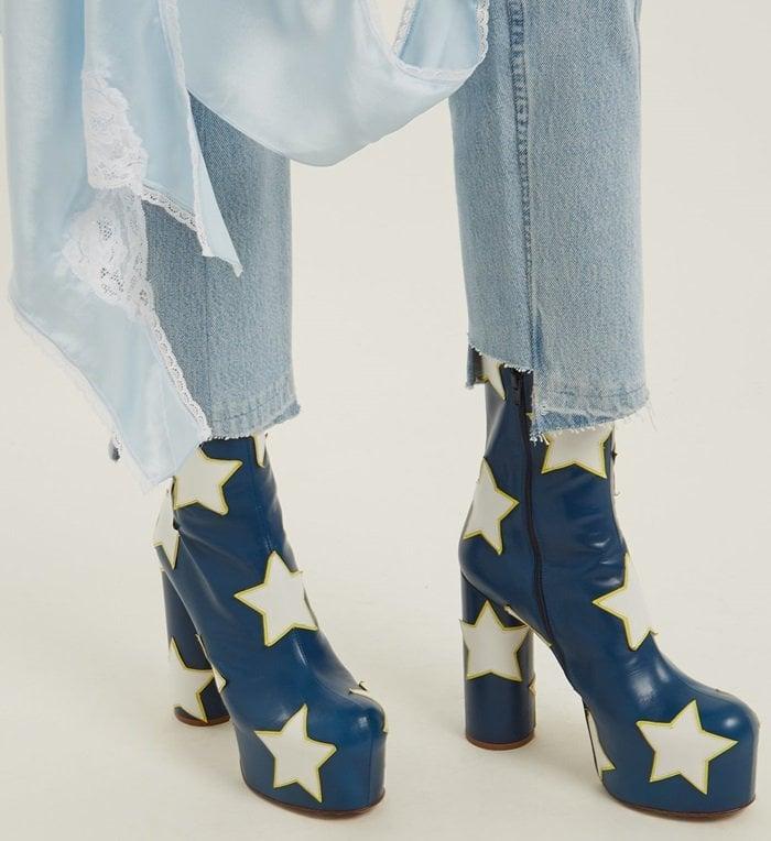 Admiral-blue platform ankle boots