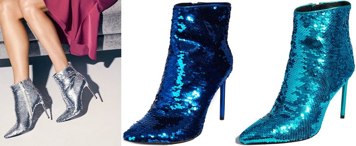 Celyn Allover Sequined Ankle Booties With Calf Leather Trim