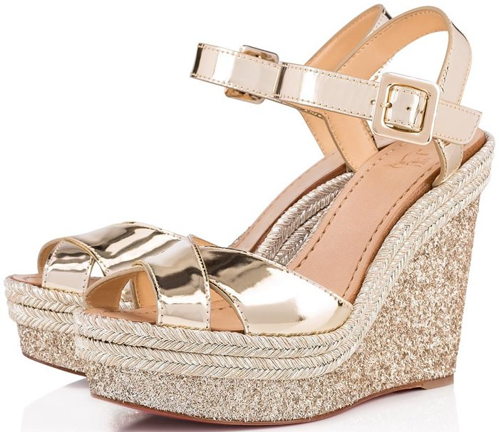 Maximalist gold sandals with shimmery wedge and mirrored upper