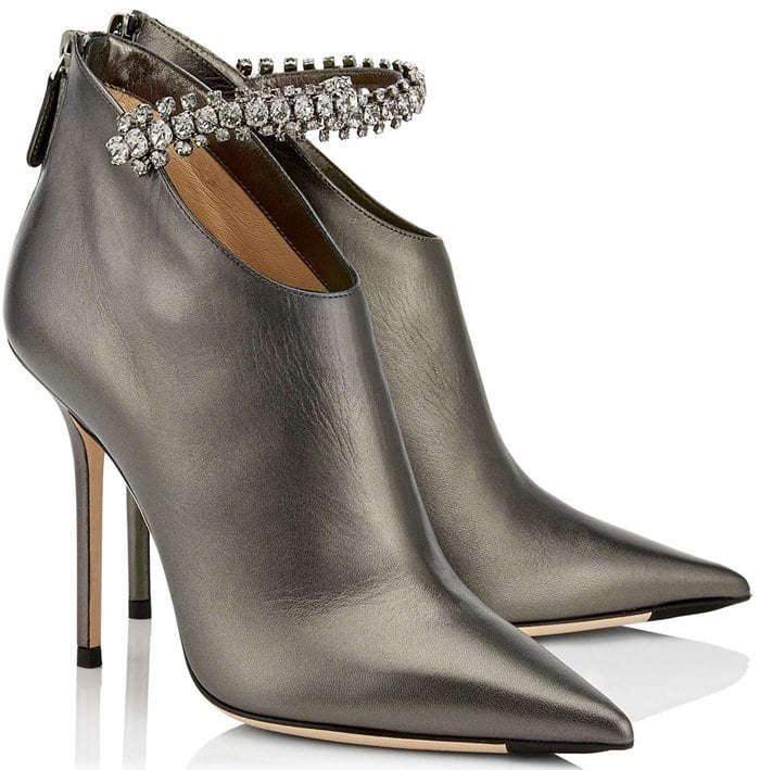 BLAIZE 100 Anthracite Metallic Nappa Leather Booties with Crystal Strap