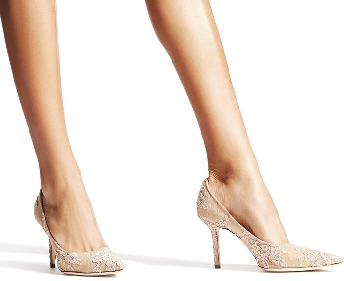 Beautiful floral lace elevates the romance of a classic pointy-toe pump lofted by a svelte stiletto