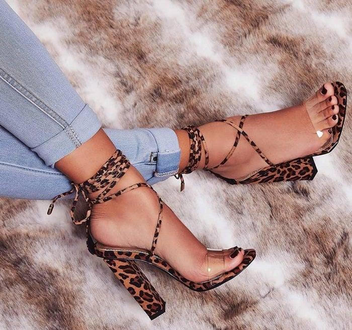 Bello Leopard Print Block Heels