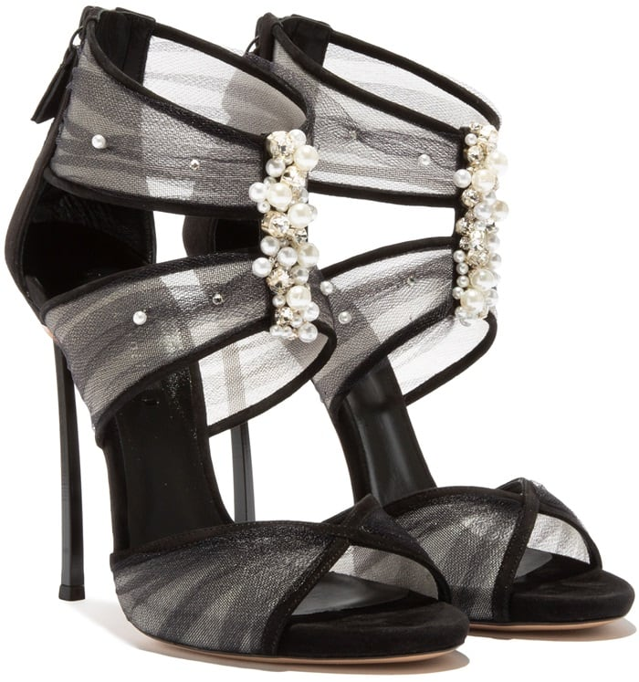 Black Angelica Crystal-Embellished Sandals
