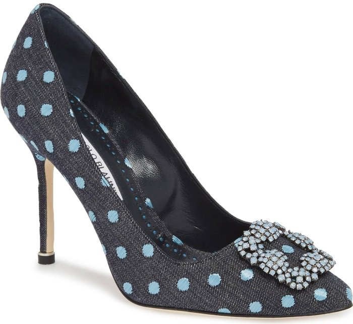 Black Fabric Hangisi Jeweled Pumps