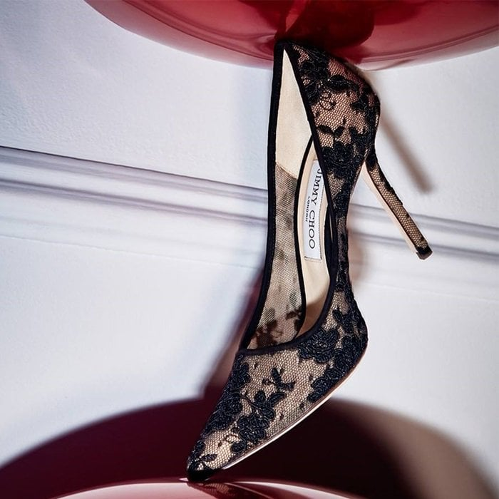 Black Floral Lace Pointy Toe Pumps