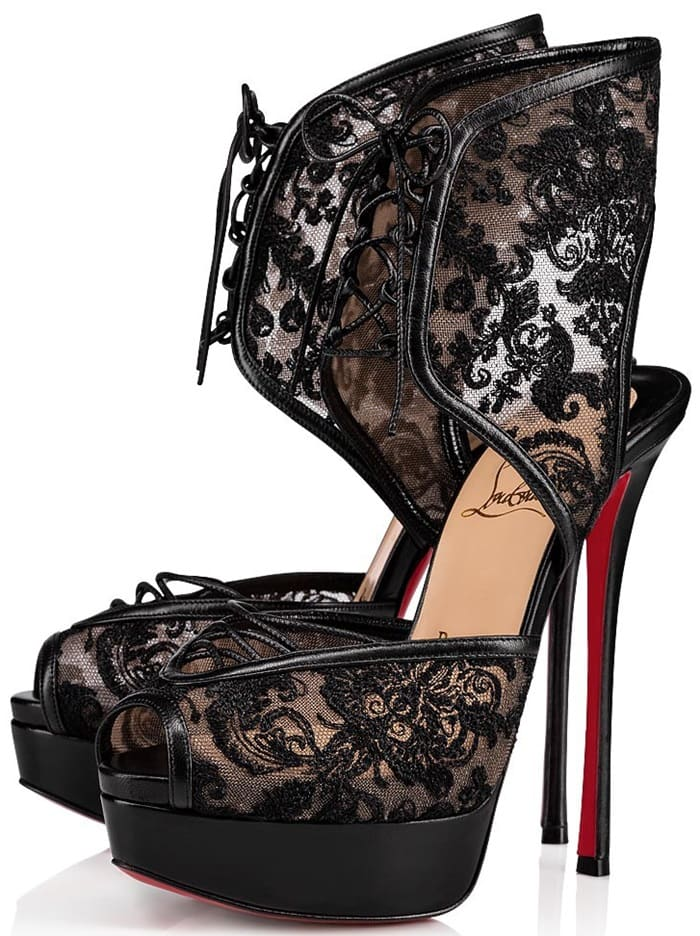 Christian Louboutin sandals in embroidered dentelle lace with leather piping