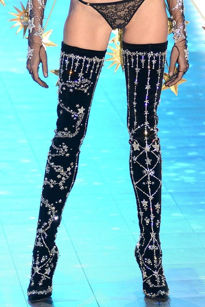 The $15,000 crystal-constellation-star-embellished thigh-high boots Brian Atwood designed for the 2018 Victoria's Secret Fashion Show