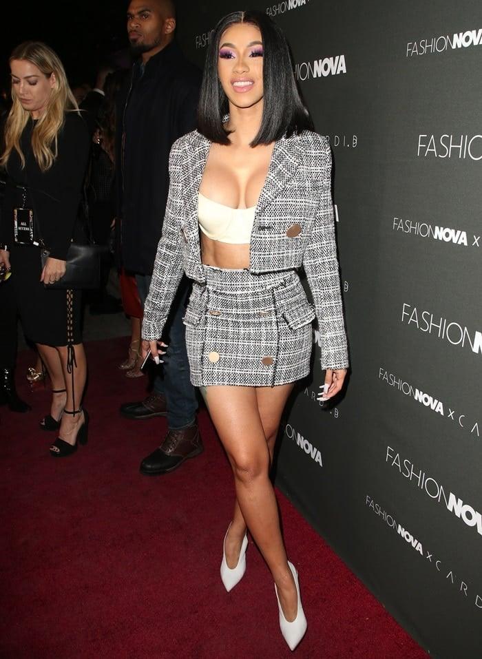 Cardi B flaunts her sexy legs at her Fashion Nova x Cardi B Collaboration Launch Celebration