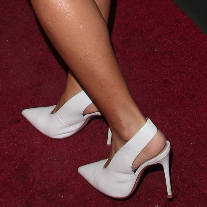 Cardi B shows off her feet in white leather slingback pumps by Gianvito Rossi