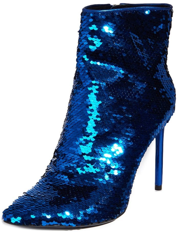 Alice + Olivia allover sequined ankle booties with calf leather trim