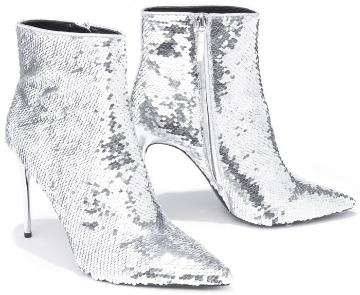Celyn Allover Sequined Ankle Booties With Calf Leather Trim Silver