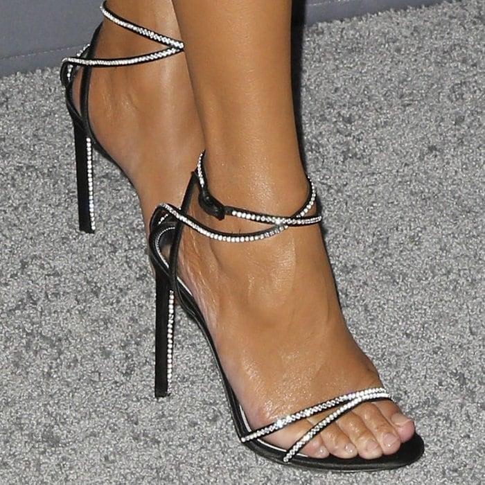 Chrissy Teigen S Feet In 1 550 Crystal Sandals And Velvet