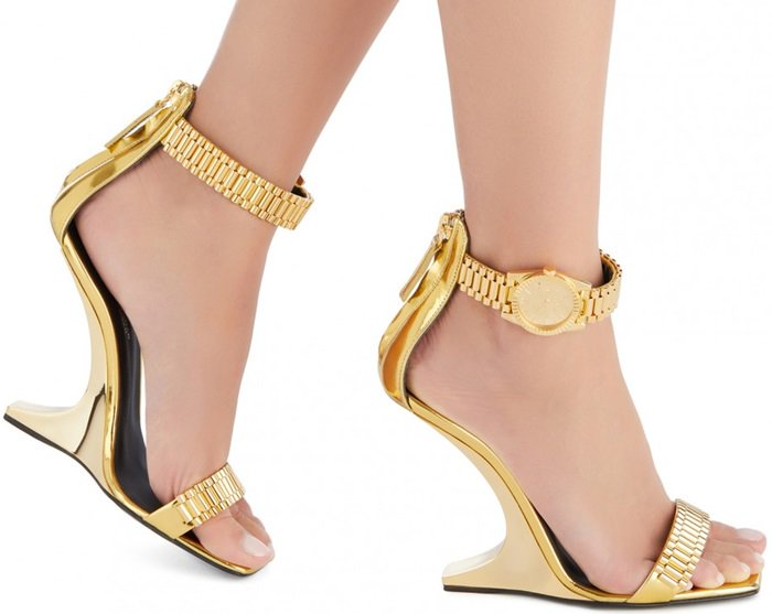 Gold Sandals With Metal Watch Buckle-Fastening