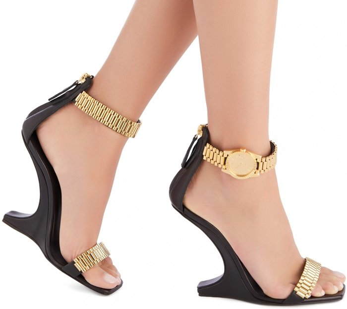 Black Sandals With Metal Watch Buckle-Fastening
