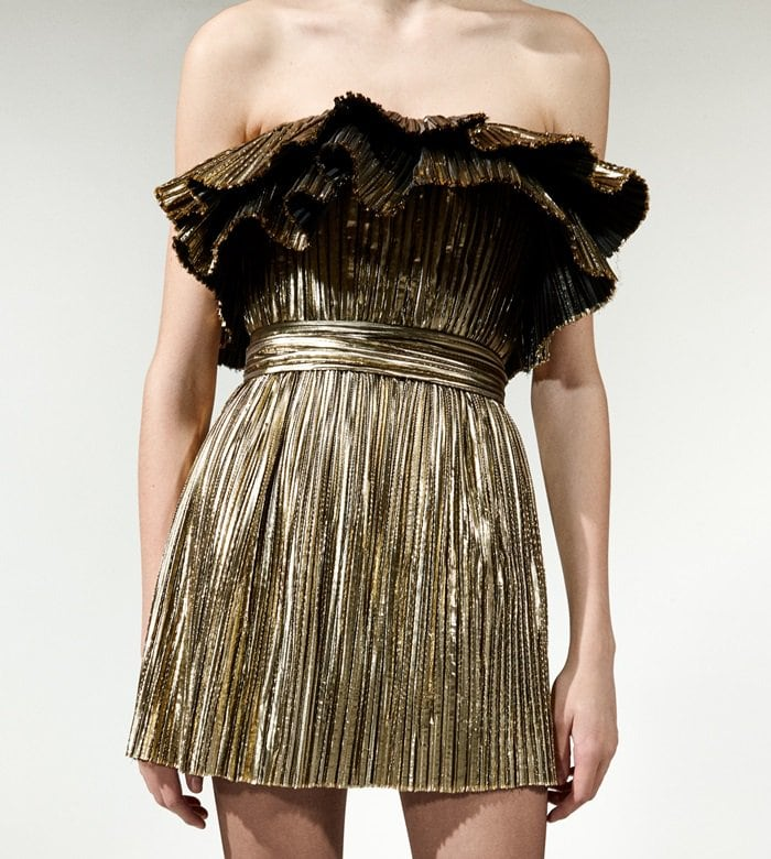 SHORT PLEATED DRESS WITH A RUFFLED BUSTIER AND A TONE-ONE-TONE BELT AT THE WAIST