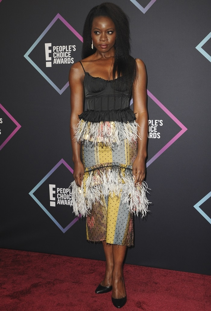 Danai Gurira won the Action Movie Star of 2018 award at the 2018 Peoples' Choice Awards at Barker Hangar in Santa Monica, California, on November 11, 2018