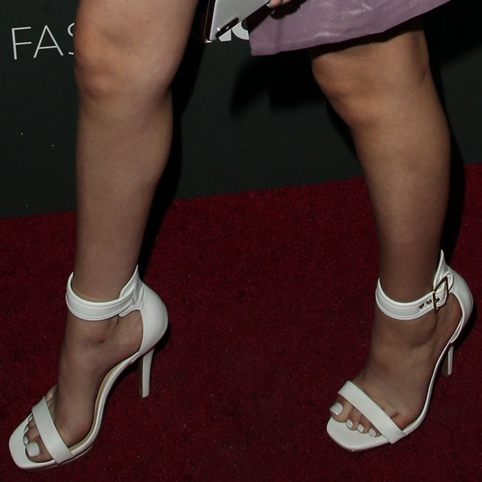 Danielle Bregoli shows off her feet in white buckle heels