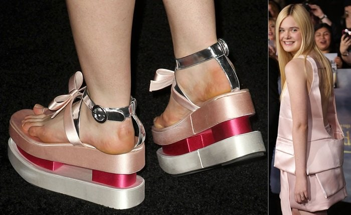 Elle Fanning shows off her yellow feet at the premiere of The Twilight Saga: Breaking Dawn — Part 2