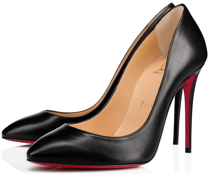 Christian Louboutin's black Nappa leather pumps are styled with an almond toe and slim stiletto heel