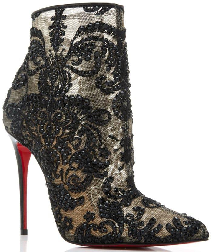 Black Gipsy Embellished Mesh Ankle Boots