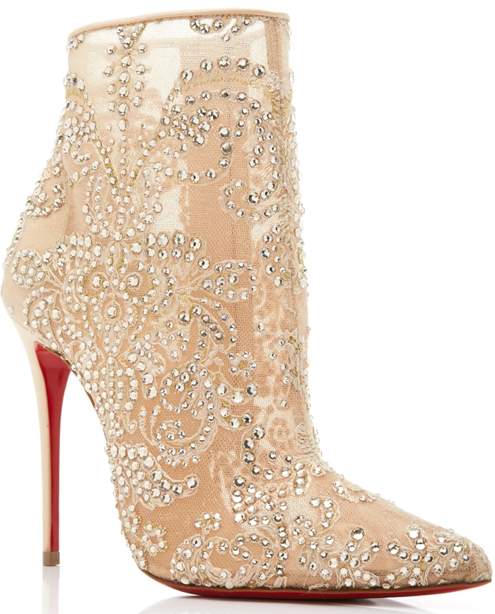 Neutral Gipsy Embellished Mesh Ankle Boots
