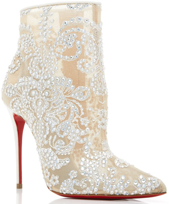 White Gipsy Embellished Mesh Ankle Boots