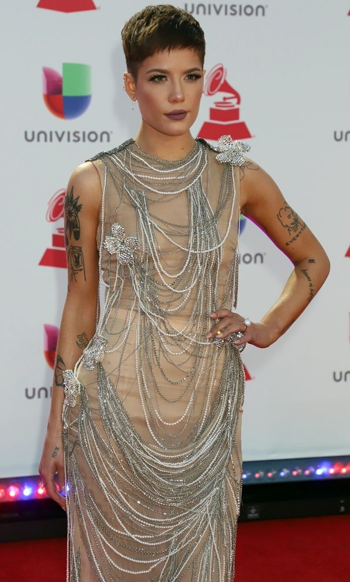 Halsey in a naked illusion dress from the Jean Paul Gaultier at the 2018 Latin Grammy Awards