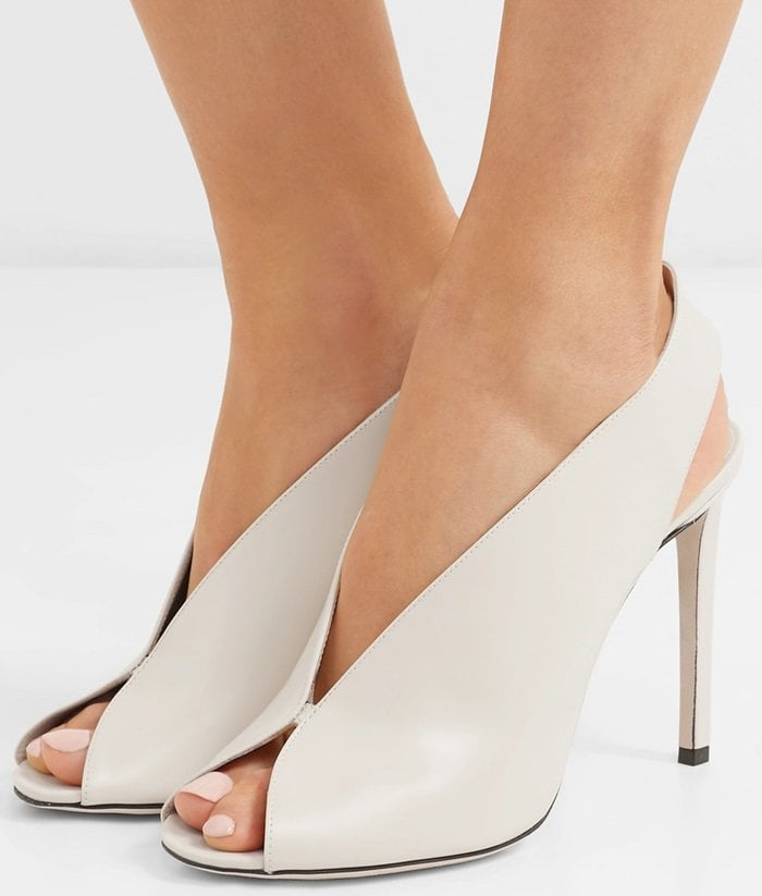 Ivory Glossed Leather Shar Peep Toe Slingback Pump
