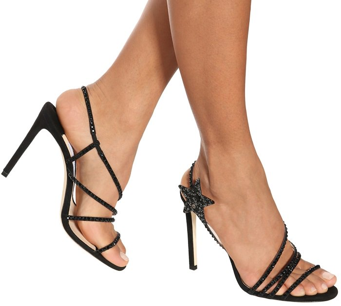 JIMMY CHOO Lynn 100 crystal-embellished suede black heels