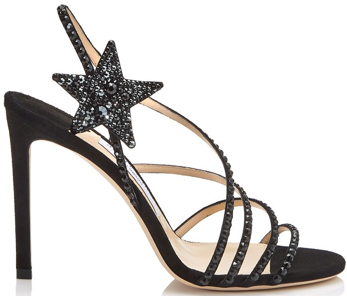 Rows of black crystals lend a classical sense of glamour to these black suede Lynn sandals