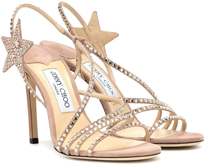 This strappy silhouette has been crafted in Italy from buttery pink suede with sparkling crystal embellishment, including a star motif at the ankle