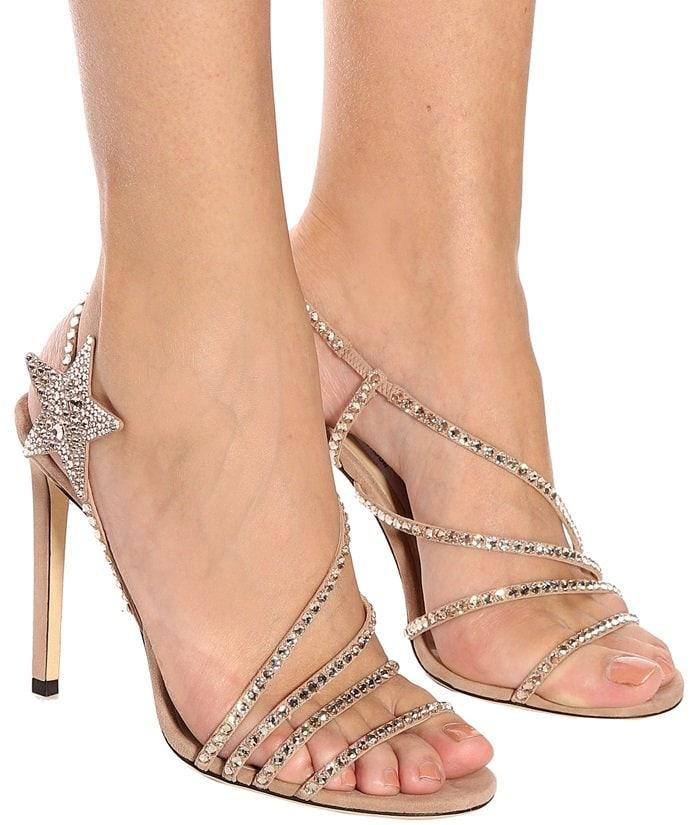 Dusty-Pink Crystal-Embellished Star Lynn Sandals